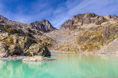 Lac Blanc With Aiguilles Des Rouges-France. View Of Lac Blanc With Aiguilles Des Rouges In The Background During Summer Day-Mont Blanc Area, France Royalty Free Stock Photo