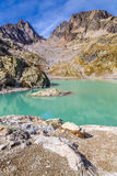 Lac Blanc With Aiguilles Des Rouges-France. View Of Lac Blanc With Aiguilles Des Rouges In The Background During Summer Day-Mont Blanc Area, France Royalty Free Stock Photos