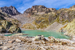 Lac Blanc With Aiguilles Des Rouges-France. View Of Lac Blanc With Aiguilles Des Rouges In The Background During Summer Day-Mont Blanc Area, France Royalty Free Stock Photography