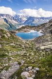 Lac Blanc Altitude Lake in front of Iconic Mont Blanc Range on a. Sunny Day Stock Photos