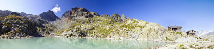 Lac Blanc of Chamonix. Famous pale blue waters of a Chamonix lake Royalty Free Stock Image