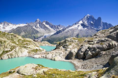 Lac Blanc, Chamonix, France. Lac Blanc near Chamonix, surrounded by mountains Stock Image