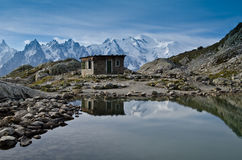 Lac Blanc - French Alps. View of Lac Blanc lake to the Mont Blanc mountain range. Lac Blanc is situated in the Aiguille Rouge near Chamonix, France Stock Image