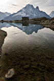 Lac Blanc - French Alps. View of Lac Blanc lake of the Mont Blanc mountain range. Lac Blanc is situated in the Aiguille Rouge near Chamonix, France Royalty Free Stock Image