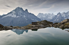 Lac Blanc - French Alps. View of Lac Blanc lake to the Mont Blanc mountain range. Lac Blanc is situated in the Aiguille Rouge near Chamonix, France Royalty Free Stock Photography