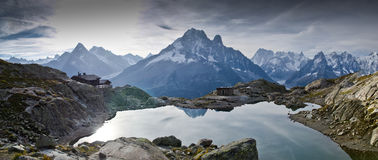 Lac Blanc - French Alps. View of Lac Blanc lake to the Mont Blanc mountain range. Lac Blanc is situated in the Aiguille Rouge near Chamonix, France Royalty Free Stock Photos