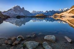 Lac Blanc, Graian Alps, France. Mont Blanc Massif Reflected in Lac Blanc, Graian Alps, France Stock Photos