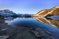 Lac Blanc, Graian Alps, France. Mont Blanc Massif Reflected in Lac Blanc, Graian Alps, France Royalty Free Stock Photo