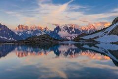 Lac Blanc, Graian Alps, France. Mont Blanc Massif Reflected in Lac Blanc, Graian Alps, France Stock Image
