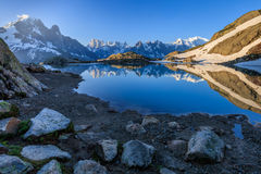Lac Blanc, Graian Alps, France. Mont Blanc Massif Reflected in Lac Blanc, Graian Alps, France Royalty Free Stock Photography