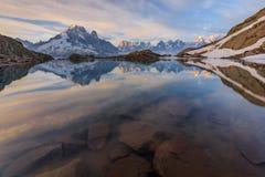 Lac Blanc, Graian Alps, France. Mont Blanc Massif Reflected in Lac Blanc, Graian Alps, France Royalty Free Stock Image