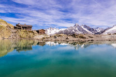 Lac Blanc,Lac Blanc Refuge,Mountain Range- France Royalty Free Stock Photos