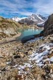 Lac Blanc,Lac Blanc Refuge,Mountain Range- France. View Of Lac Blanc, Lac Blanc Refuge, Aiguille du Tour, Aiguille du Chardonnet, Aiguille d Argentiere, Aiguille Stock Photo
