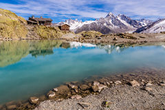 Lac Blanc,Lac Blanc Refuge,Mountain Range- France Royalty Free Stock Photography