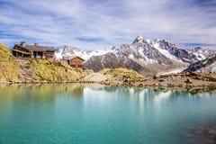 Lac Blanc,Lac Blanc Refuge,Mountain Range- France Royalty Free Stock Image