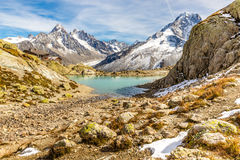 Lac Blanc And And Mountain Range - France Royalty Free Stock Images