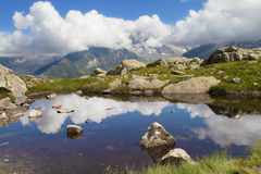 Lac Blanc reflection. In the French Alps Royalty Free Stock Photos