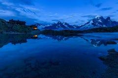 Lac Blanc Refuge 2352m, Massif du Mont Blanc. Mont Blanc Massif Reflected in Lac Blanc, Graian Alps, France Stock Photography