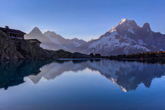 Lac Blanc Refuge 2352m, Massif du Mont Blanc. Mont Blanc Massif Reflected in Lac Blanc, Graian Alps, France Stock Image
