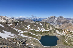 Lac Blanc from Vallee de la Claree, France. Image of the Lac Blanc (White Lake) located at 2699 m on Vallee de la Claree (Claree Valley) in Hautes Alpes Stock Photo