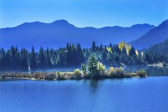 Lac bleu Autumn Snoqualme Pass Washington gold d'île Image libre de droits