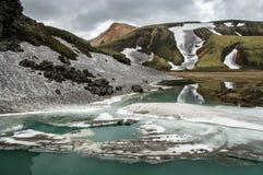 Lac bleu de glacier près de terrain de camping de Landmannalaugar Photographie stock libre de droits