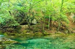 Lac bleu transparent de montagne photo stock
