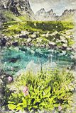 Lac bleu vallée en de Roshka - de Chauki montagne, la Géorgie Digital a illustration libre de droits
