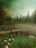 Lac brumeux avec la jetée Image stock