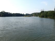 Lac calme avec le fond de forêt Image libre de droits
