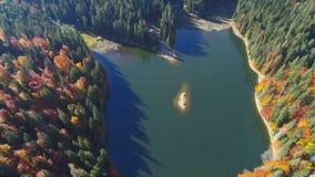 Lac calme bleu imagé de montagne avec des ombres d'arbre clips vidéos