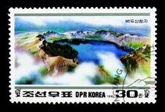 Lac Chon, cinquantième anniversaire de Kim Jong Il : Serie de montagnes de Paektu, Images libres de droits