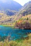 Lac cinq flower, Jiuzhaigou, au nord de province de Sichuan, la Chine Image libre de droits