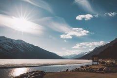 Lac congelé Athabasca en jaspe, Canada images libres de droits