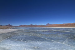 Lac congelé dans les Andes Photo libre de droits