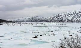 Lac congelé en Norvège images stock