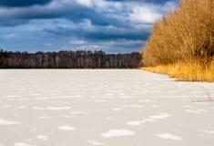 Lac congelé, Slovaquie Image libre de droits