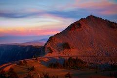 Lac crater au coucher du soleil Images stock