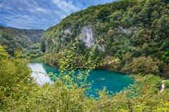 Lac croatia Plitvice, fond naturel de voyage, parc national photographie stock libre de droits