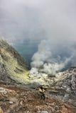 Lac d'acide sulfurique de crator d'Ijen Image libre de droits
