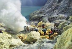 Lac d'acide sulfurique de crator d'Ijen Images libres de droits