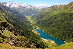Lake of Artouste in the French Pyrenees. stock image