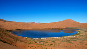 Lac d'eau salée dans le désert Images stock