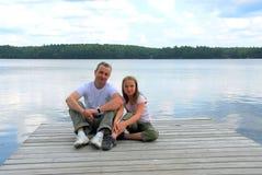 Lac d'enfant de père Image stock