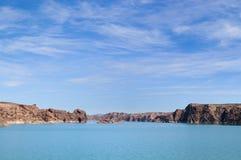 Lac dam d'Ameghino dans le Patagonia Images libres de droits