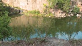 Lac dans la carrière en pierre avec les rivages rocheux vent mou se déplaçant par de jeunes arbres minces banque de vidéos