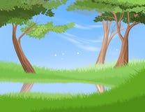 Lac dans la scène de forêt de vecteur de nature illustration de vecteur