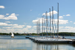 Lac dans Olsztyn, Pologne Photographie stock