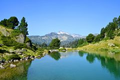 Lac de Bastan inferieur in French Pyrenees. Beautiful mountain landscape in Neouvielle national nature reserve, Lac de Bastan inferieur, French Pyrenees stock image