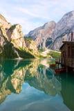 Lac de Braies sur les dolomites, Italie Image libre de droits